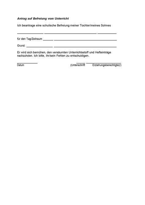 Antrag Sonderurlaub Vorlage Information Entschuldigung Und Unterrichtsbefreiung