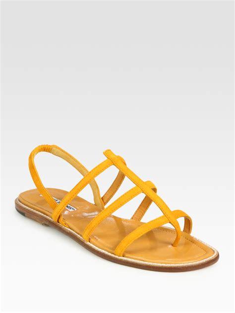 orange suede sandals manolo blahnik suede slingback gladiator sandals in orange