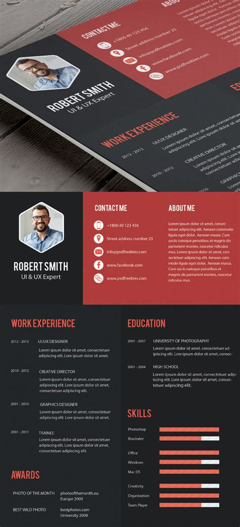 Creative Professional Resume Templates by Free Professional Cv Resume And Cover Letter Psd Templates