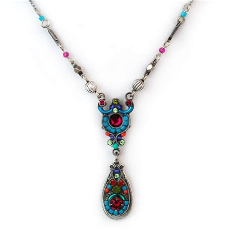 multi color delicate mosaic necklace with drop