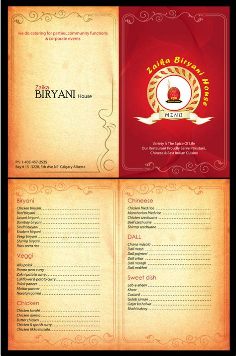 how to make a menu card for restaurant zaika biryani house menu card by syedmaaz on deviantart