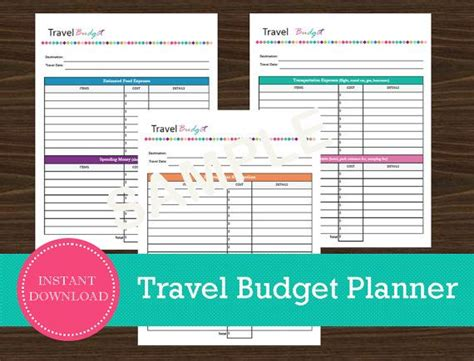 travel planner printable pdf travel budget and expense tracker travel planner