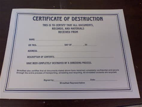 more adventurous certificate of destruction