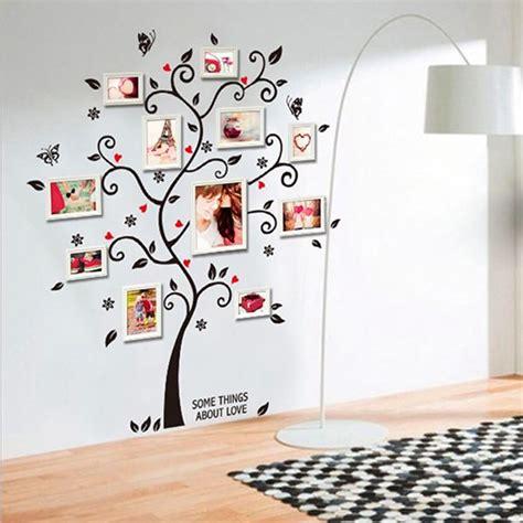Big Frame Tree Wallsticker シックな黒ファミリーフォトフレームツリー蝶フラワーハート壁画ウォールステッカーホームインテリアルームデカール