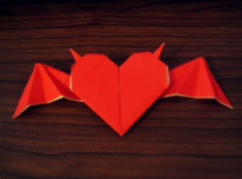 tutorial origami wing love origami heart with horns and bat wings 183 how to fold an
