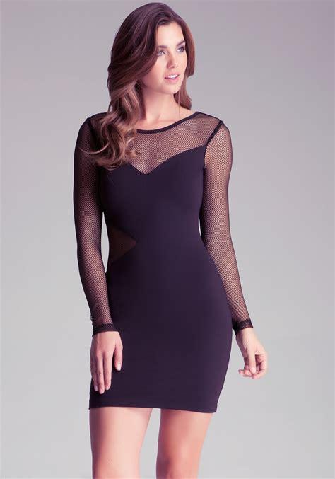 Mesh Sleeve Dress lyst bebe mesh sleeve dress in purple