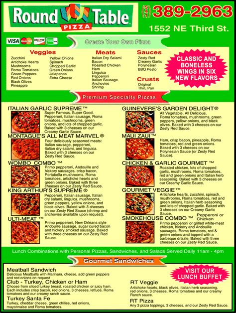 Round Table Pizza Bend Or 97702 Yellowbook Table Pizza Menu