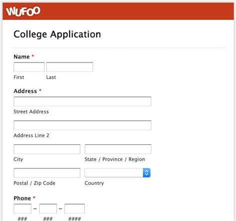 college application template wufoo 183 04 college application template