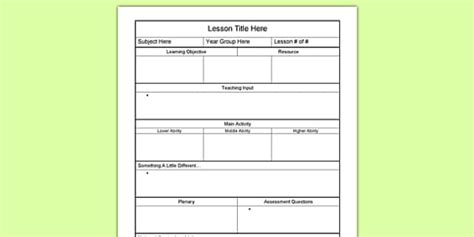 early years lesson plan template editable individual lesson plan template lesson planning