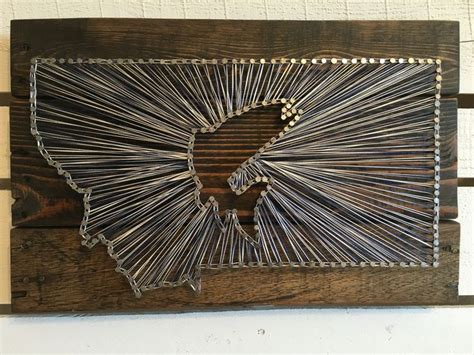 Wood Nail String - montana fish string pallet wood stain navy and