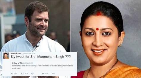smriti irani trolls rahul gandhi   tweets     read  indian express
