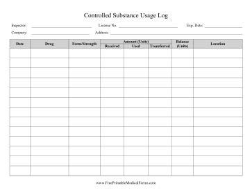 controlled drug register template printable controlled substance usage log