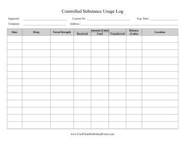 controlled log template printable controlled substance usage log