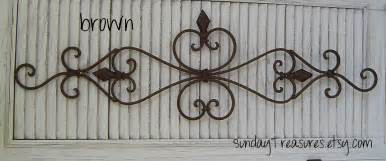 Wrought Iron Wall Hangings Large Brown Architectural Wall Scroll Sculpture Iron Metal