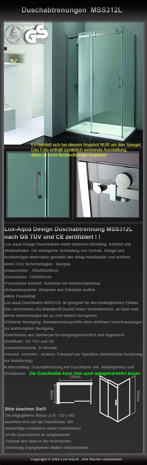 Wc Spiegel 114 by Www Aqua De Duschkabine 120x80cm 8mm Glas Mss312l