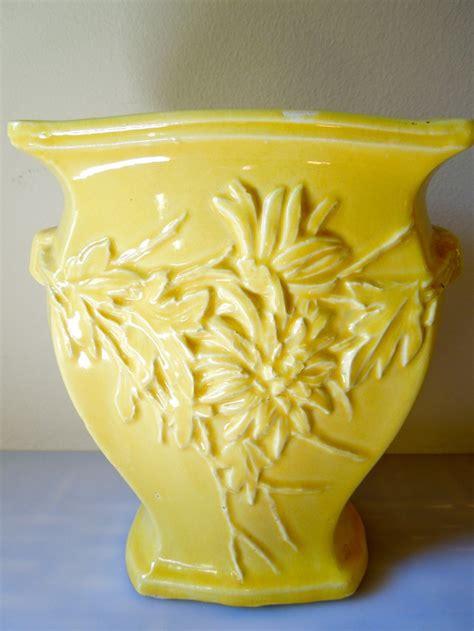 Yellow Mccoy Vase by Vintage Yellow Mccoy Wide Vase