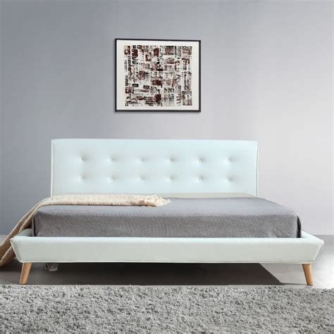 button bed frame button tufted king pu leather bed frame in white buy