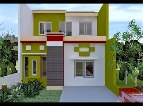 foto cat rumah warna hijau motif minimalis