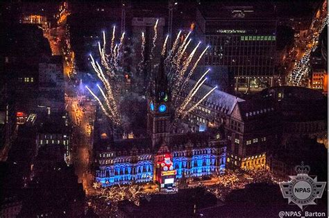 new year in manchester uk fantastic aerial pictures show manchester celebrating on