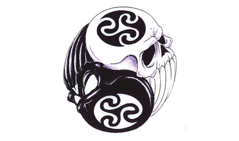 reflections of a ying yang skull tattoo