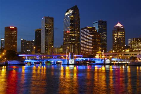 Red And Purple Home Decor tampa skyline photograph by lori burrows