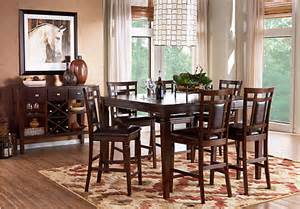 riverdale cherry 5 pc square counter height dining room padded chairs transitional