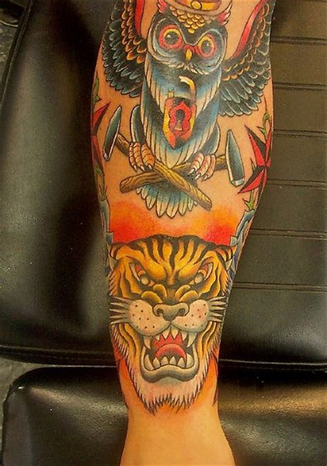 tattoo lous arm school owl tiger by lous