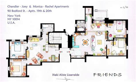 friends apartment artists sketch floorplan of friends apartments and other