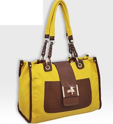 Fashion Bag 2503 yellow and brown turnlock fashion purse ebay