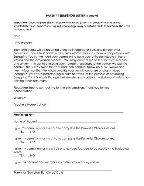 Parents Consent Letter For School Best Photos Of Exle Of A Permission Letter Sle Permission Letter Request Permission