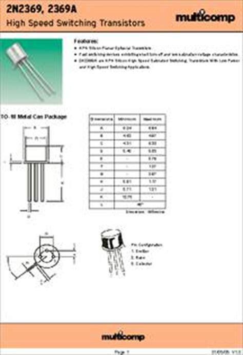 Transistor 2n2369 2n2369 datasheet specifications transistor polarity npn collector