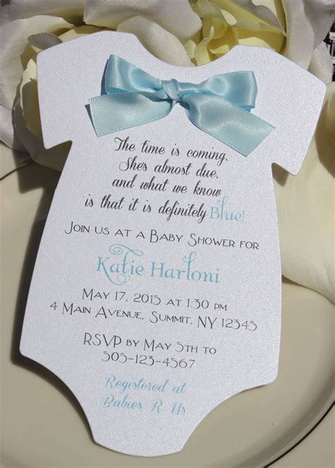 Baby Shower Invitation Card Ideas by Baby Shower Invitation For Boy In Shape Of Onesie With