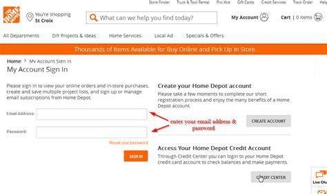 home depot credit card login cc bank