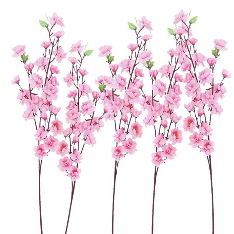 decorative flowers 6pcs peach blossom simulation flowers artificial flowers