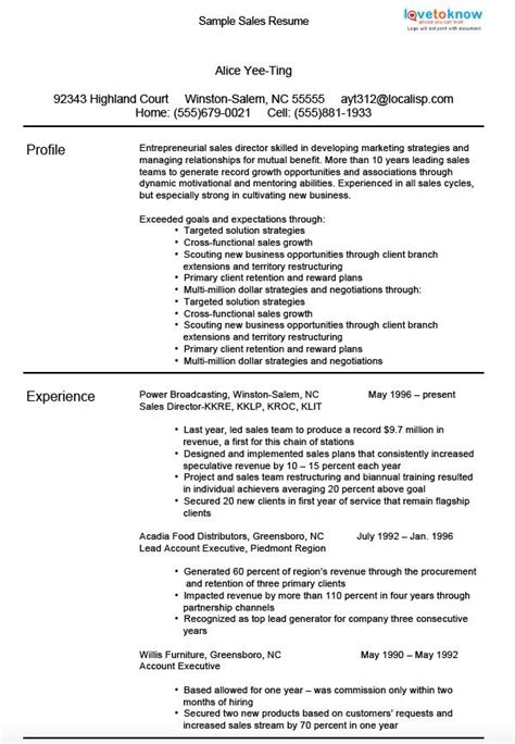 resume qualifications sles sle sales resumes