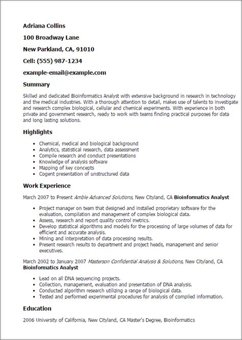 bioinformatics cover letter professional bioinformatics analyst templates to showcase