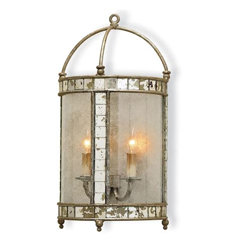 Lantern Wall Sconce by Sardinia Antique Silver Leaf Lantern Style Wall Sconce
