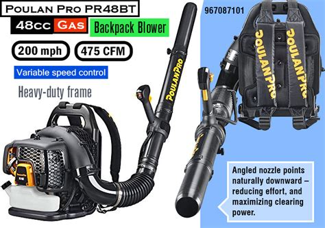poulan pro backpack blower best gas leaf blower reviews powerful leaf blowers