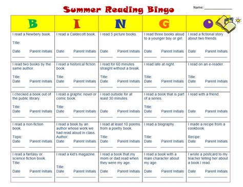 reading competition themes homework bingo