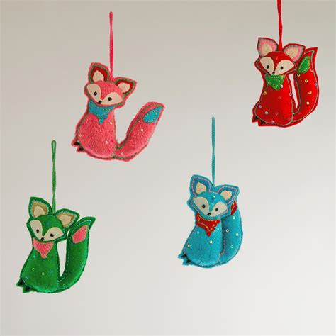 felt fox ornaments set of 4 world market
