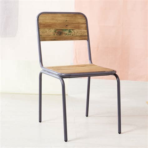 wood and metal industrial wood and metal chair by bell blue