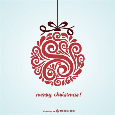 christmas card with red bauble free vector 123freevectors
