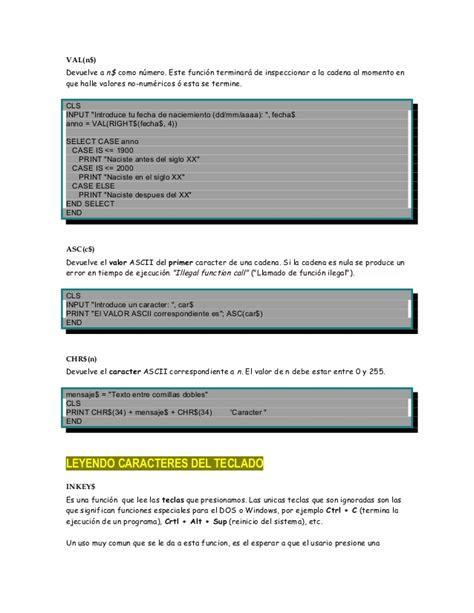 manipulacion de cadenas en c cap 237 tulo 6 qbasic manipulaci 243 n de cadenas de texto