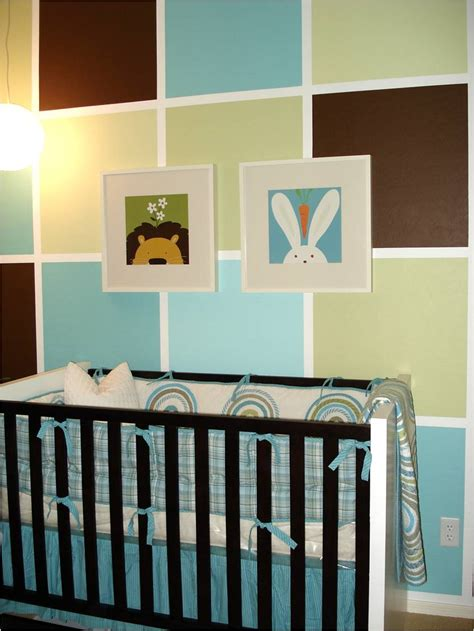 color block painted wall for boy s nursery
