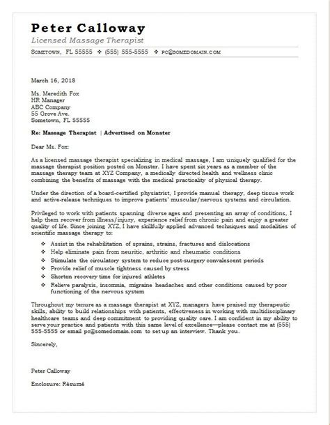 massage therapist cover letter sample monstercom