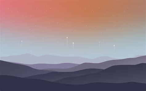 wallpaper landscape minimal stars warm hd