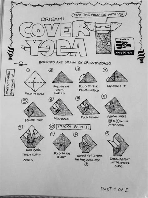 Origami Cover Yoda - origamiyoda30 s cover yoda instructions origami yoda