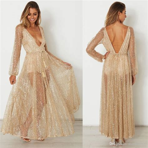 Longdress Najwa 01 by Gold Sequin Backless See Through Rhinestone Plunge V Neck