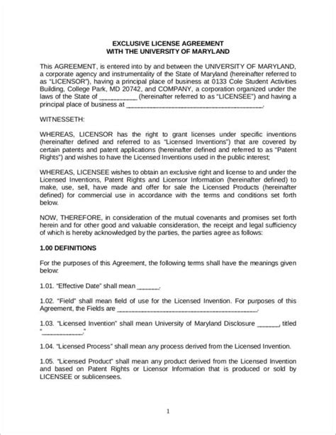 5 Patent License Agreement Sles Templates Sle Templates Patent License Agreement Template