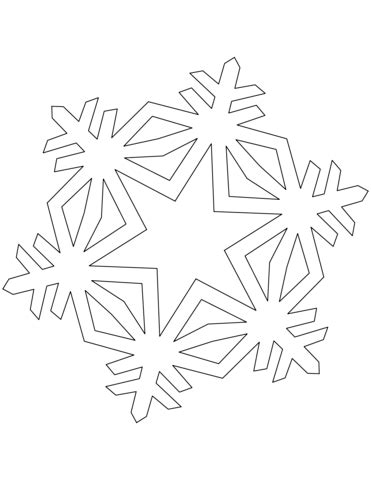 simple crystal snowflake coloring page  printable